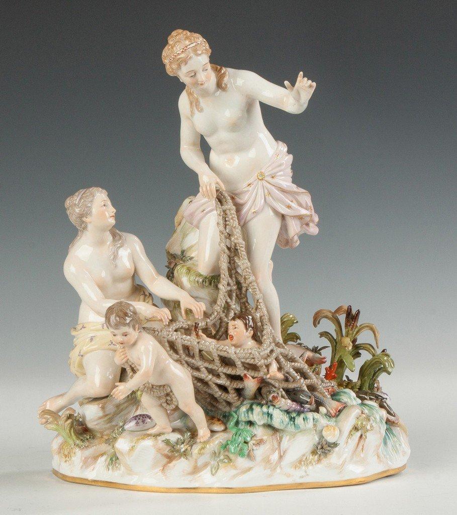 Meissen Porcelain Figural Group, Aquatic Motif