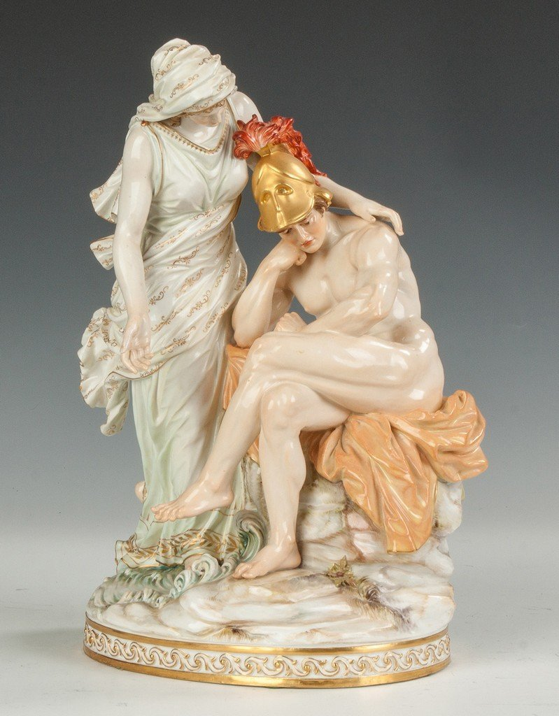 Fine Meissen Figural Group with a Woman and Centurion