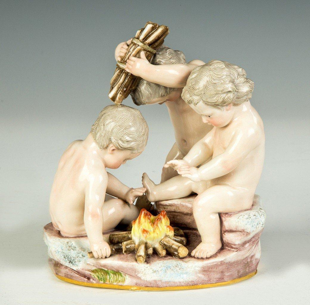Meissen Figural Group, Children around Campfire