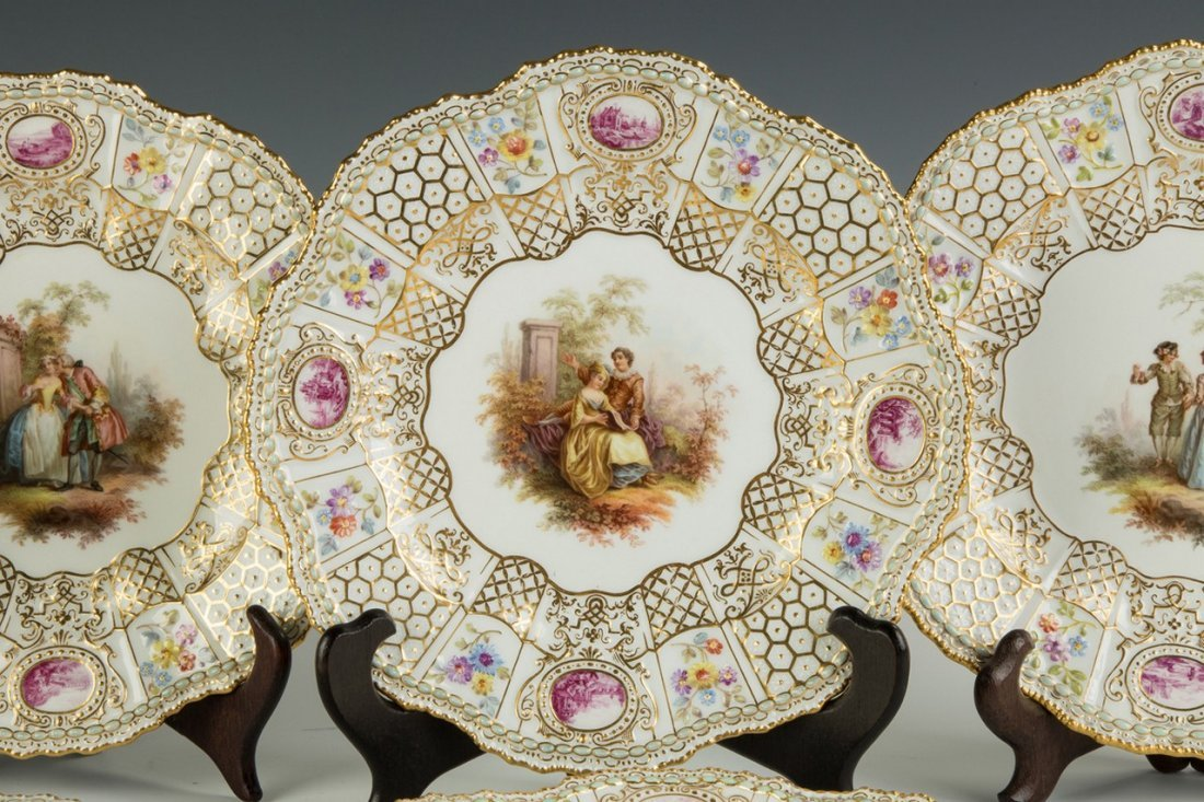 Six Meissen Plates with Courting Couples