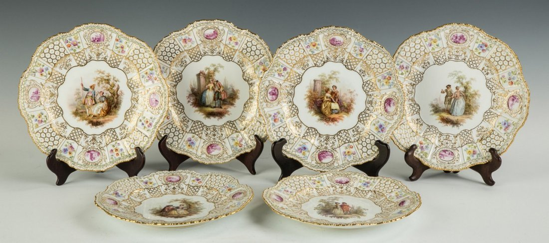 Six Meissen Plates with Courting Couples - 2