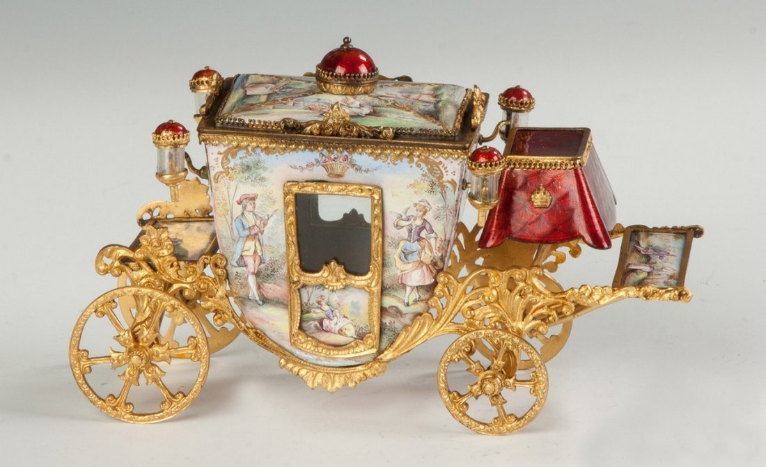 Fine French Hand Painted Enamel and Gilded Metal Coach