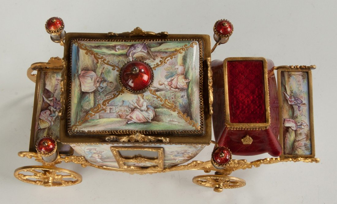 Fine French Hand Painted Enamel and Gilded Metal Coach - 2