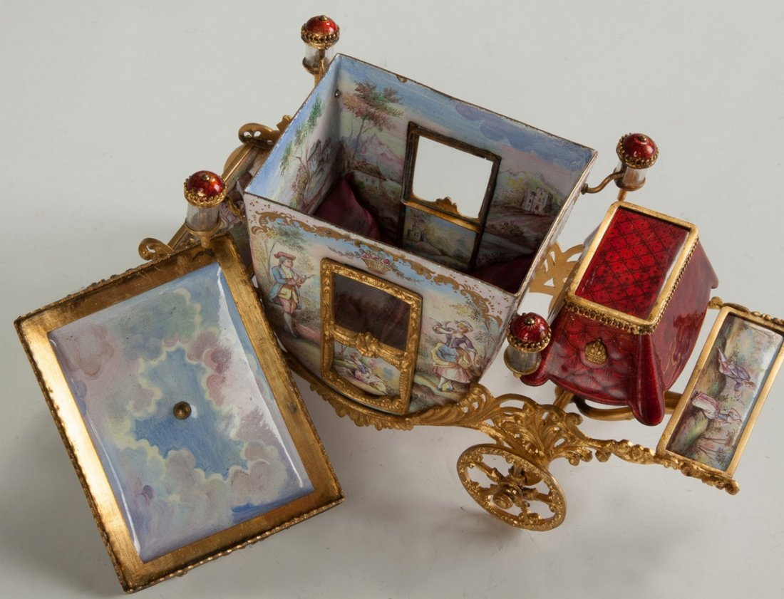 Fine French Hand Painted Enamel and Gilded Metal Coach - 3