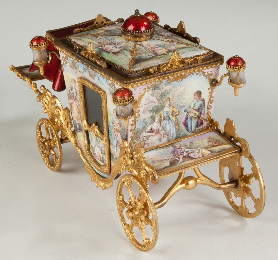 Fine French Hand Painted Enamel and Gilded Metal Coach - 4