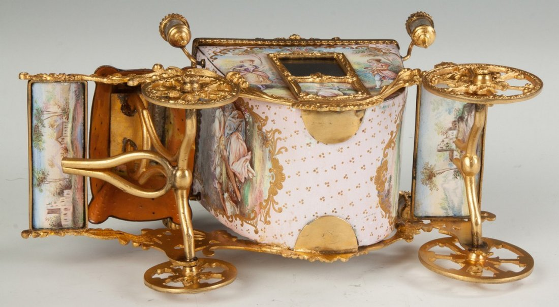 Fine French Hand Painted Enamel and Gilded Metal Coach - 5