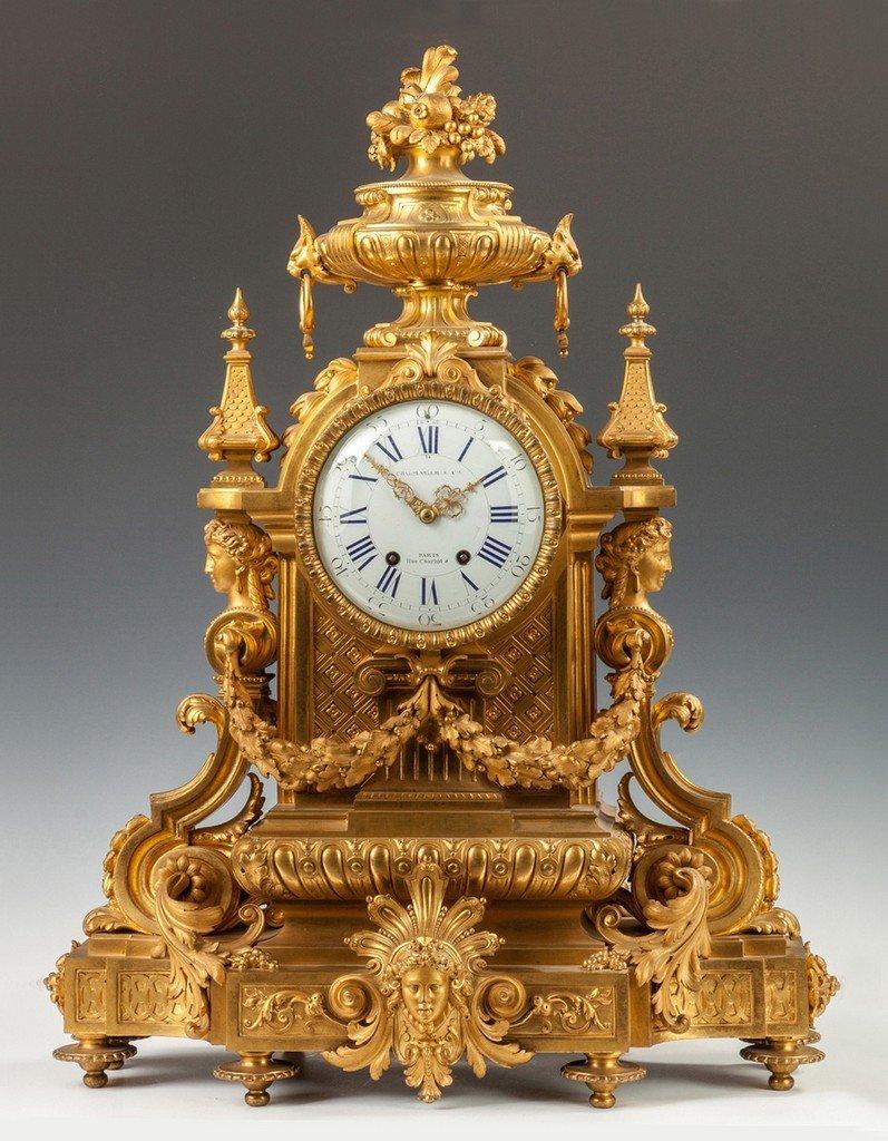 Fine Charpentier & Co. Gilt Bronze Mantle Clock