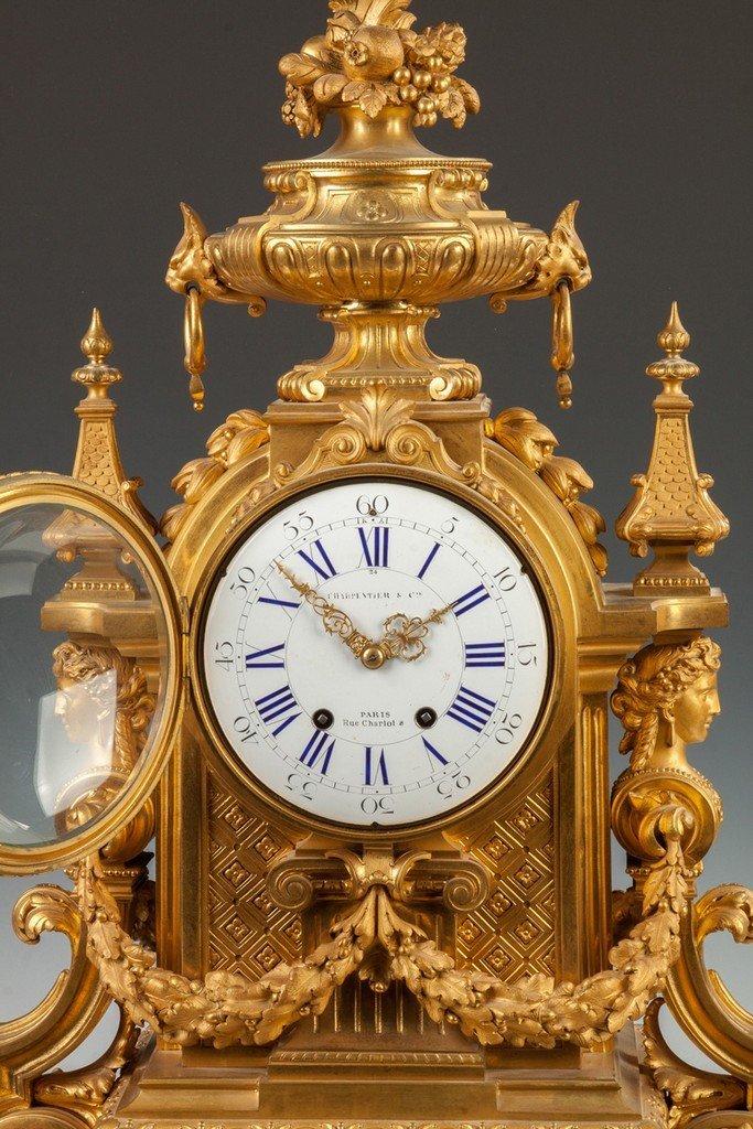 Fine Charpentier & Co. Gilt Bronze Mantle Clock - 2
