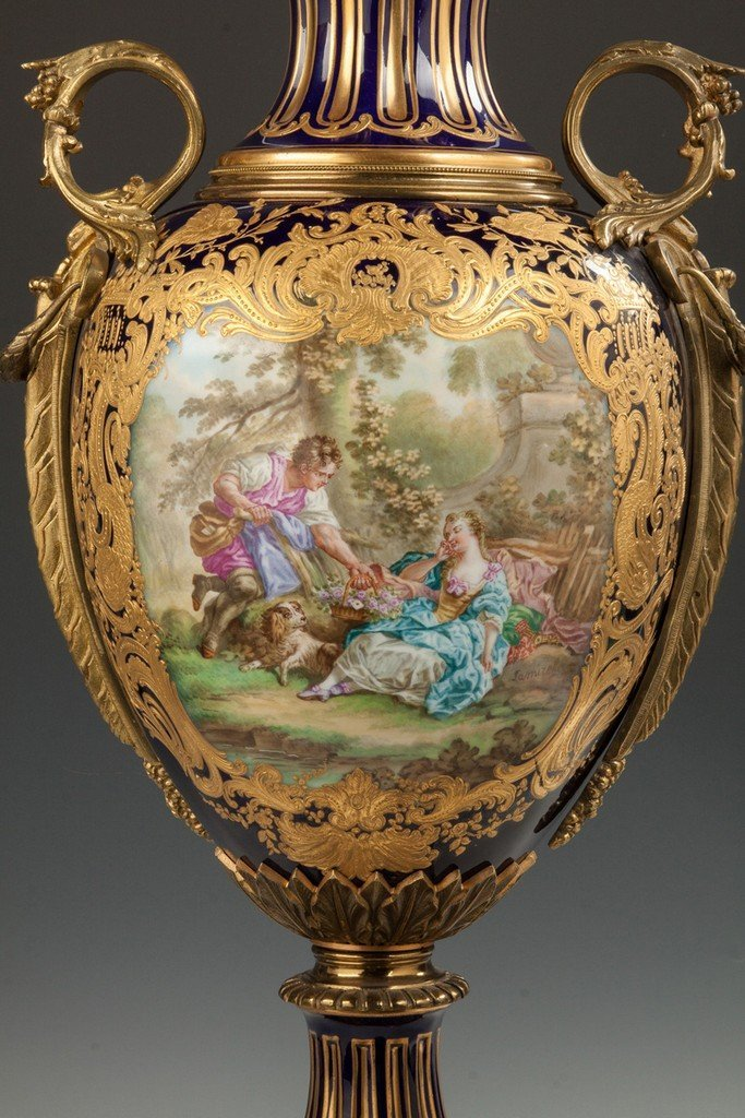 Sevres Hand Painted Porcelain Covered Urn with Courting - 2