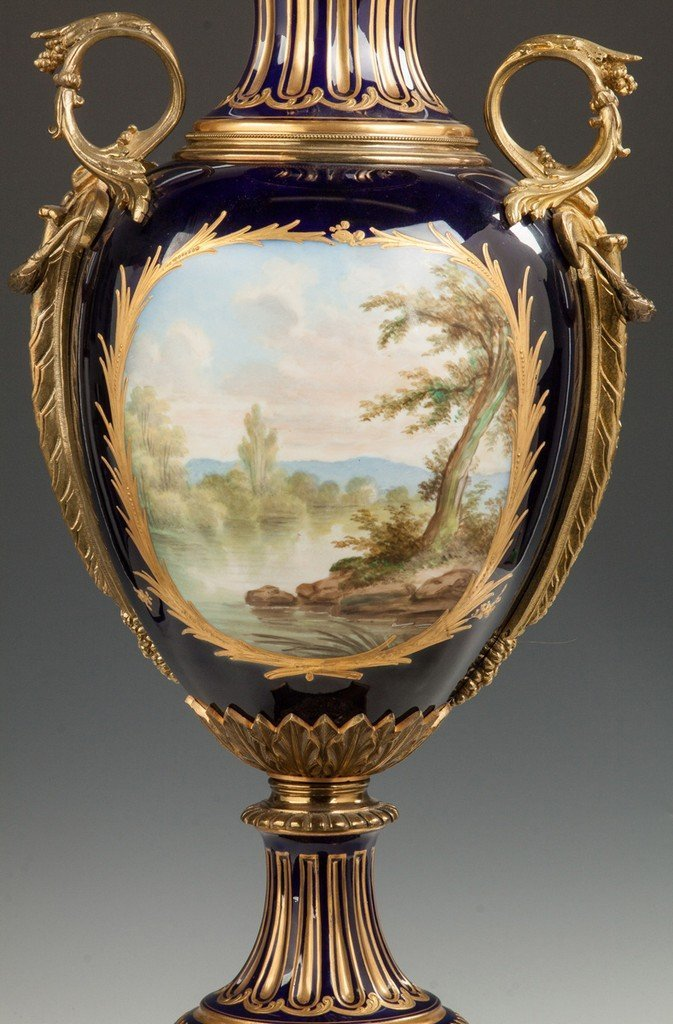 Sevres Hand Painted Porcelain Covered Urn with Courting - 4