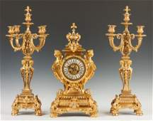 French Gilt Bronze Three Piece Clock Set