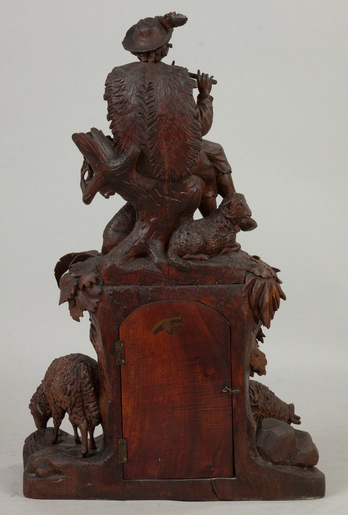 Carved Black Forest Clock with Figure Playing Flute, - 3
