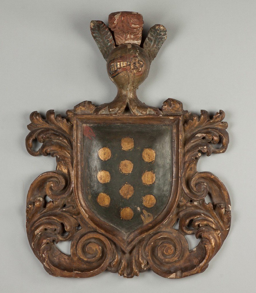 Early Italian Carved and Painted Coat of Arms