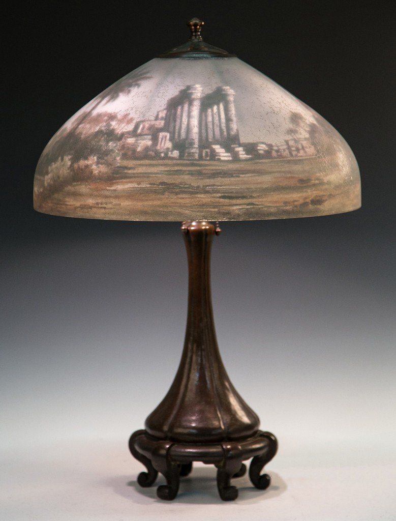 Handel Reverse Painted Egyptian Ruins Lamp