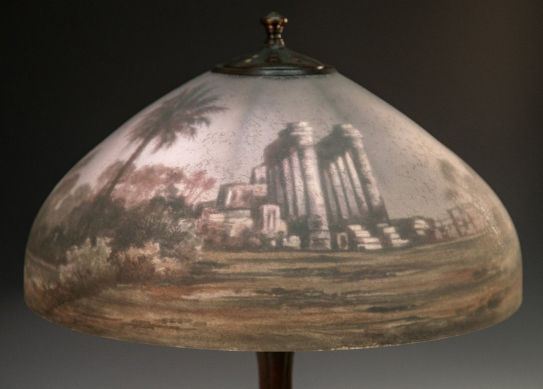 Handel Reverse Painted Egyptian Ruins Lamp - 2