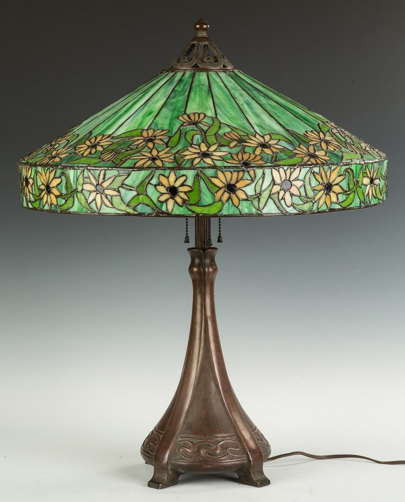 Handel Black Eyed Susan Leaded Glass Lamp - 3