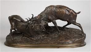 Pierre Jules (PJ) Mene (French, 1810-1879) Bronze Stags