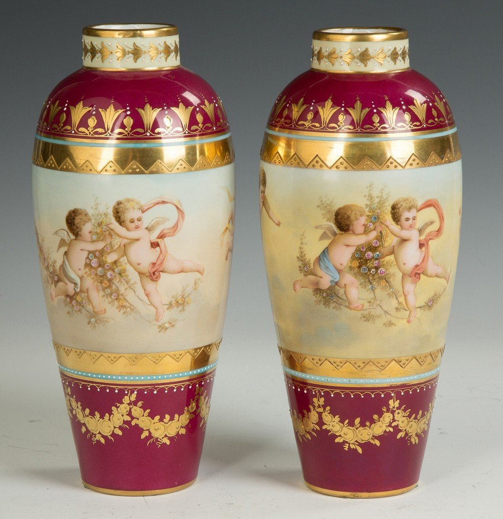Austrian Hand Painted Porcelain and Enameled Vases - 3