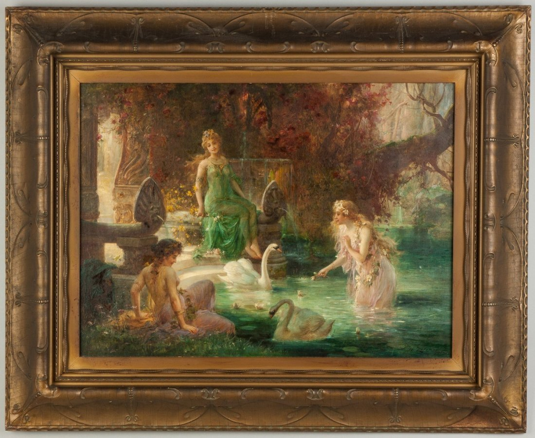 Hans Zatzka (Austrian, 1858-1945) Three Women Near Pool