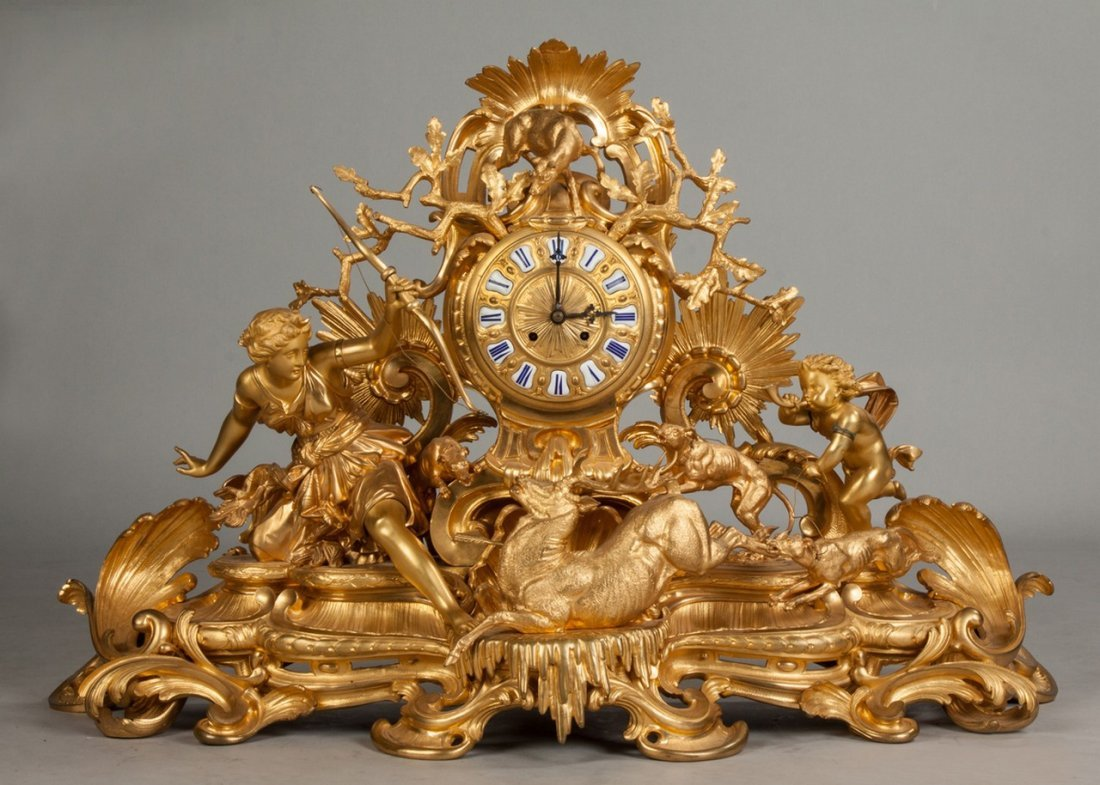 Monumental French Gilt Bronze Mantle Clock