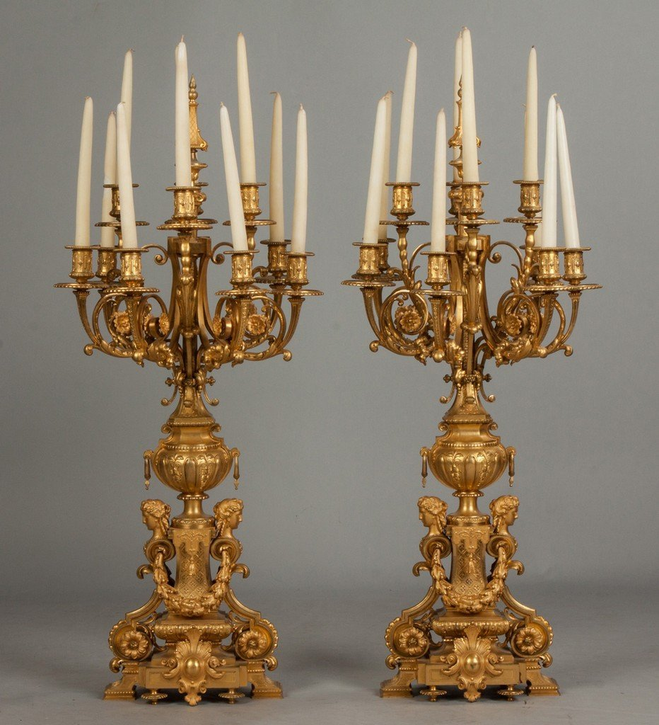 Pair of Monumental French Gilt Bronze Candelabras, Ten