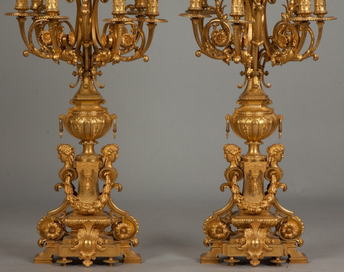 Pair of Monumental French Gilt Bronze Candelabras, Ten - 2