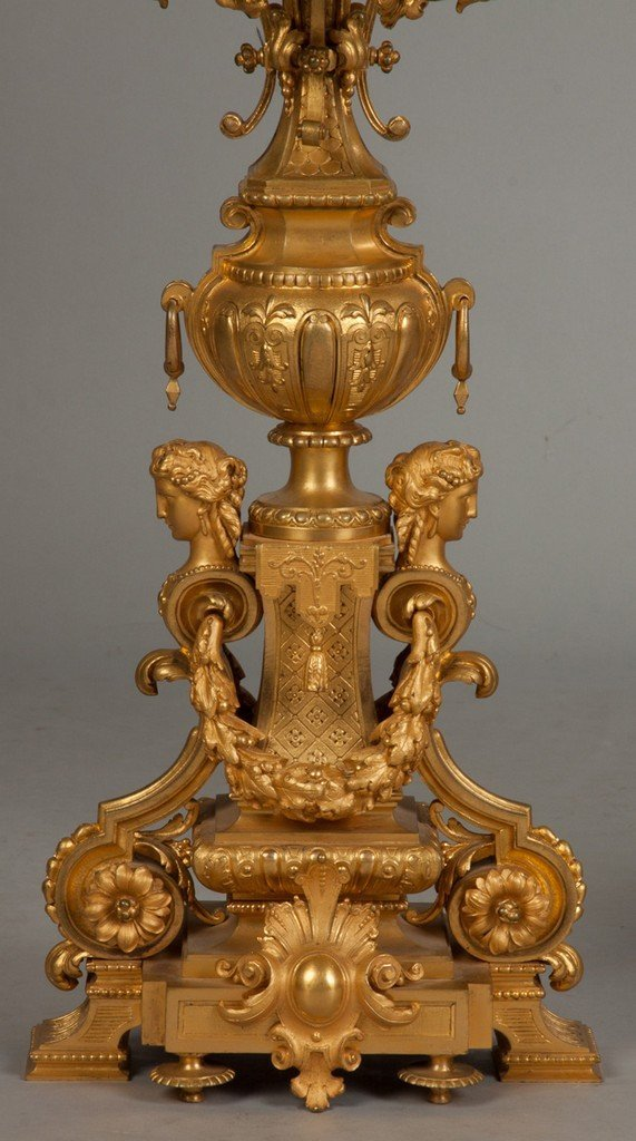 Pair of Monumental French Gilt Bronze Candelabras, Ten - 3