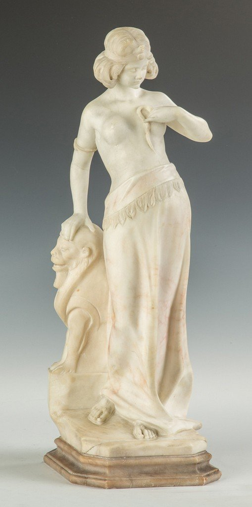 Alabaster Sculpture of a Middle Eastern Lady with Lion