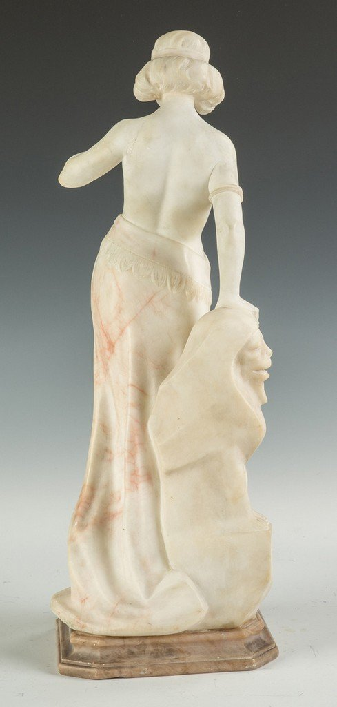 Alabaster Sculpture of a Middle Eastern Lady with Lion - 2