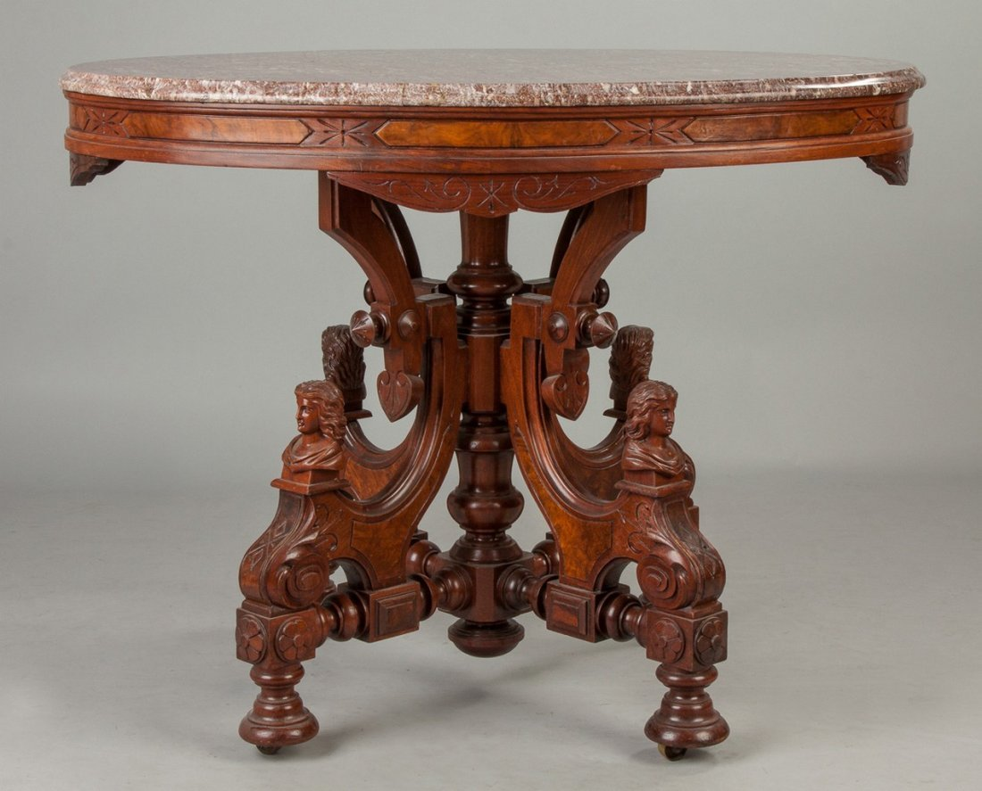 Victorian Walnut and Burl Marble Top Center Table with