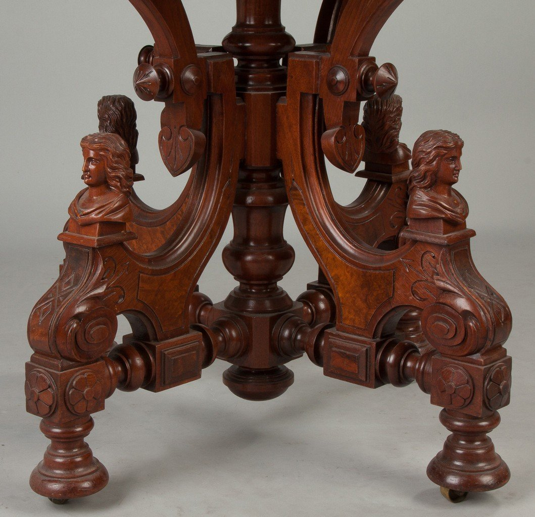 Victorian Walnut and Burl Marble Top Center Table with - 2