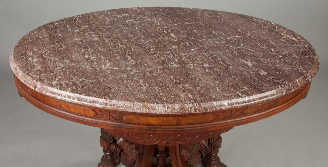 Victorian Walnut and Burl Marble Top Center Table with - 3