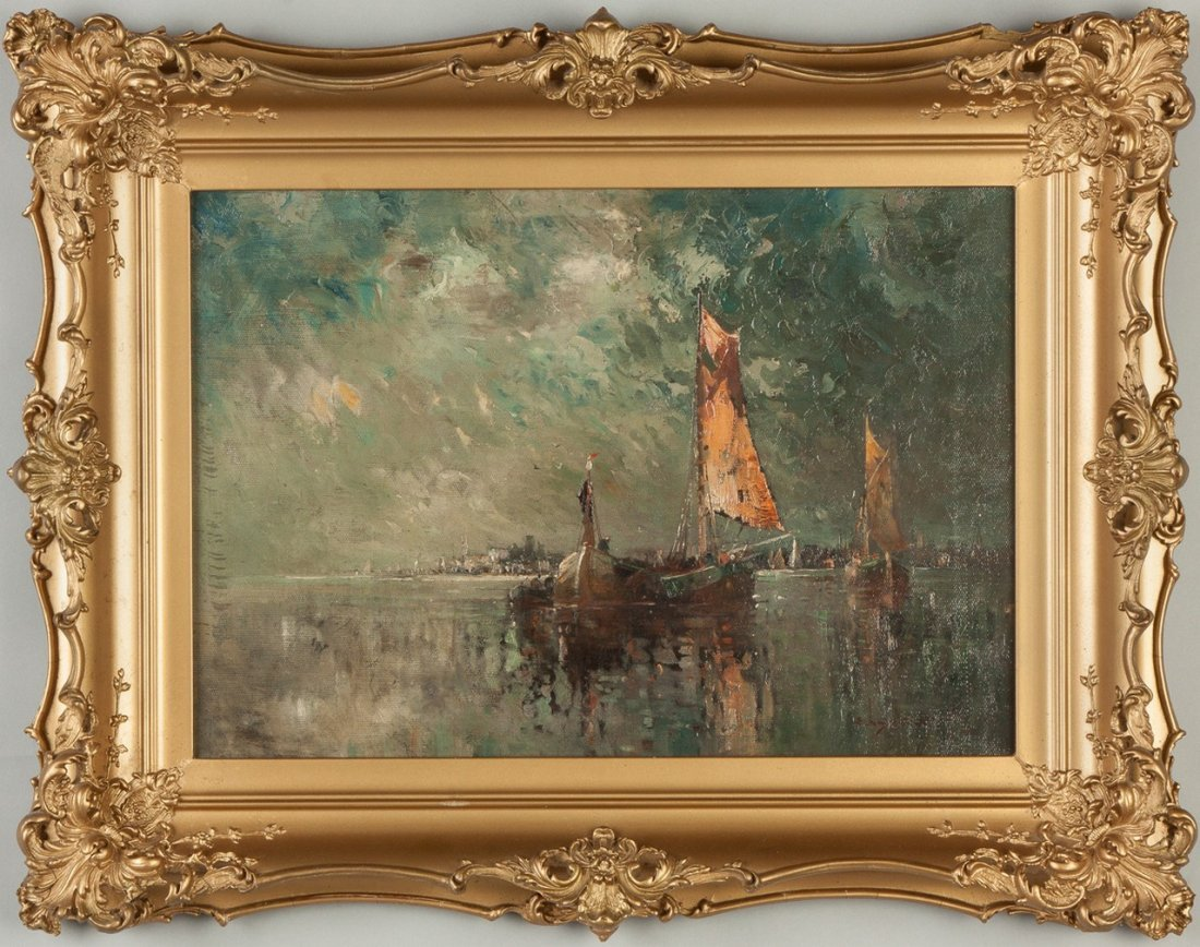 Edwin Landseer Harris (American, 1858–1901) Boats at