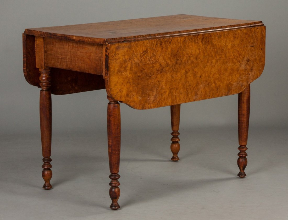 Country Sheraton Curly Maple Drop Leaf Table with
