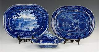 Three Historical Blue Staffordshire Pieces