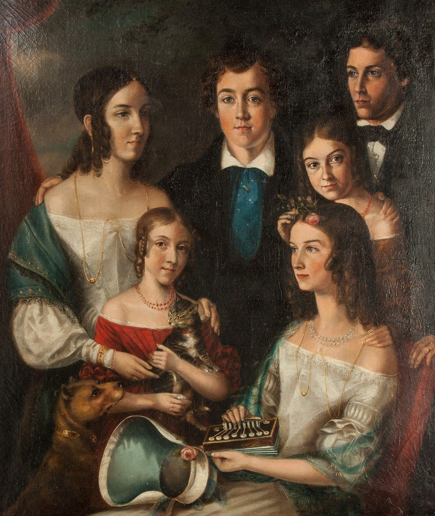 Portrait of a Six Young People with Cat, Dog and - 2