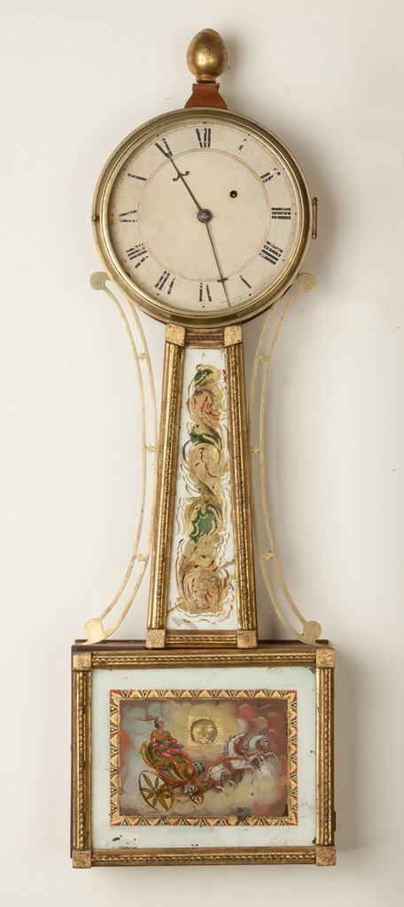 New England Gilt Front Banjo Clock