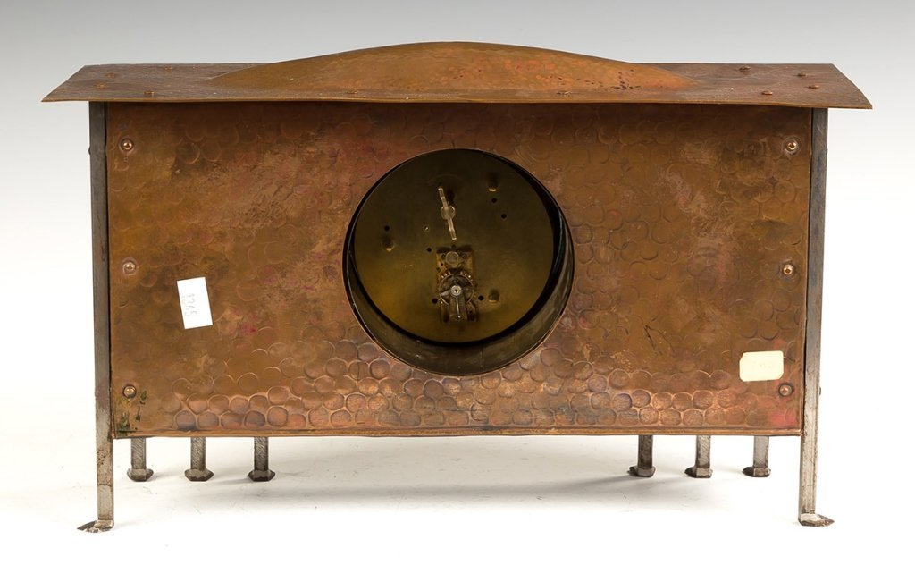 Hammered Copper and Steel Shelf Clock - 2