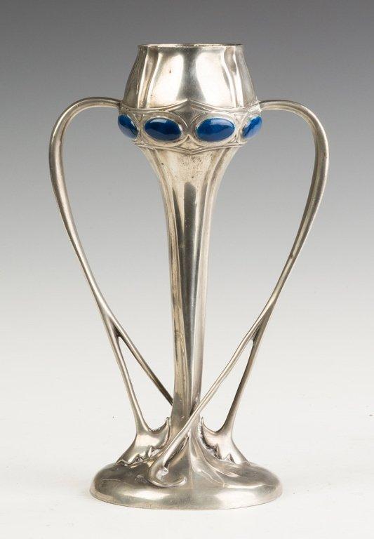 Tudric  Art Nouveau Pewter and Jeweled Handled  Vase