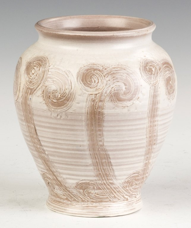Arthur Baggs Incised and Decorated Art Pottery  Vase