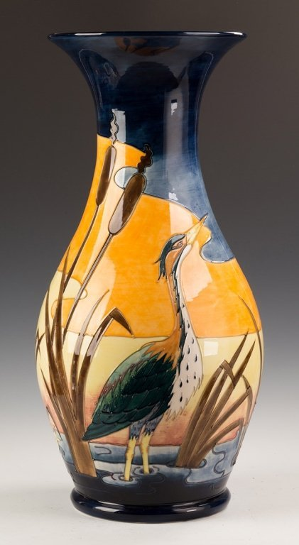 Contemporary Moorcroft Floor Vase with a Heron,