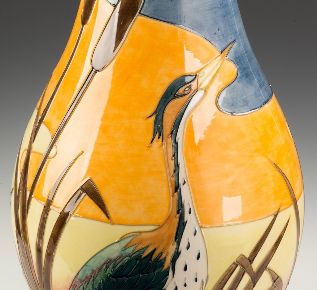 Contemporary Moorcroft Floor Vase with a Heron, - 2