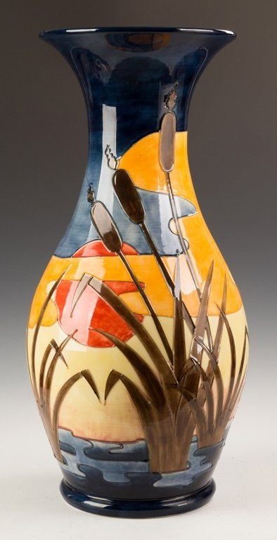 Contemporary Moorcroft Floor Vase with a Heron, - 3