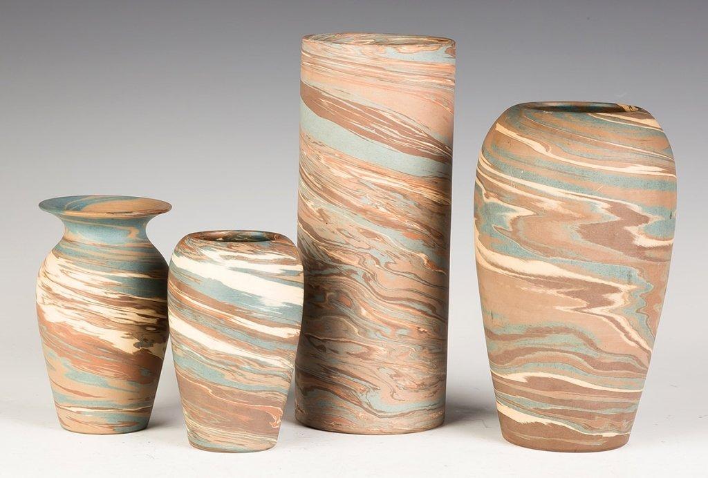 Four Niloak Art Pottery Vases