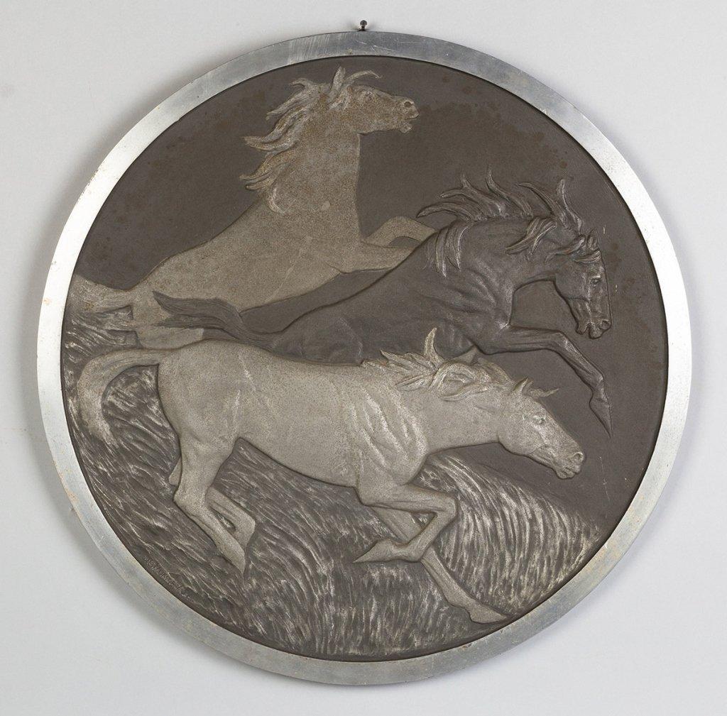 Cast Aluminum Wall Plaque, Three Stallions