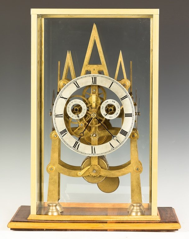 Five Dial Brass Gothic Style Skeleton Clock