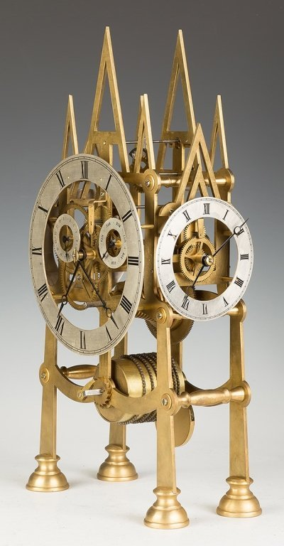 Five Dial Brass Gothic Style Skeleton Clock - 2