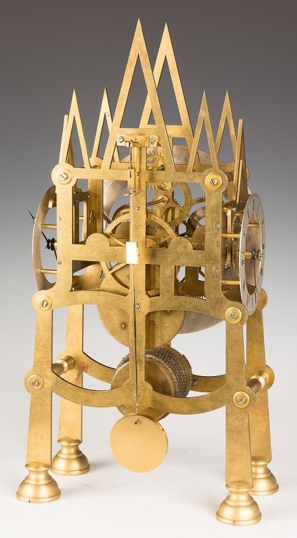 Five Dial Brass Gothic Style Skeleton Clock - 3