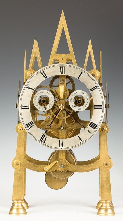 Five Dial Brass Gothic Style Skeleton Clock - 4