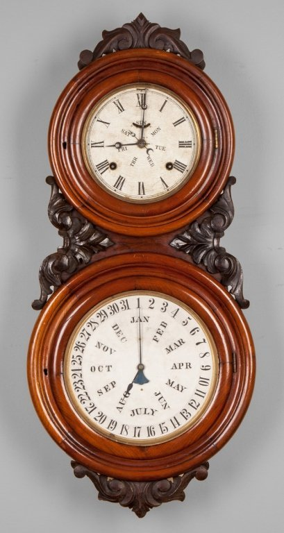 B.B. Lewis Double Dial Calendar Wall Clock,  Bristol,